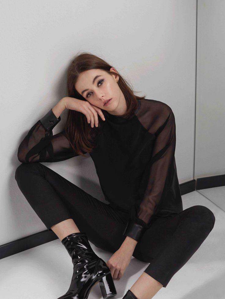Sankt's Leather Collar Silk Blouse #silk #chiffon #leather #collar #cuff #evening #chic #aesthetic #elegant #sankt #wearesankt #FW16