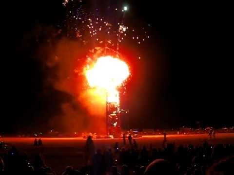 Video of the fireworks igniting the Burning Man statue in the center of Black Rock City. Watch as the firework display causes preset balloons filled with fuel to light the man on fire. Burning Man festival is one of the best experiences for the more free thinking soul.