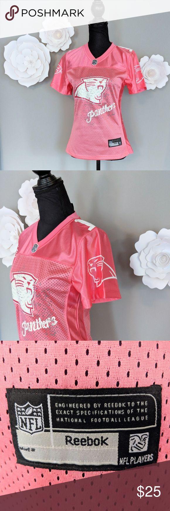 Pink Carolina Panthers Jersey Get game day ready with this adorable pink Carolina Panthers' Cam Newton #1 jersey. Reebok Tops