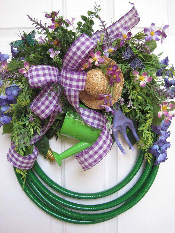 Green Garden Hose Wreath Free Shipping Spring Wreath By FunFlorals