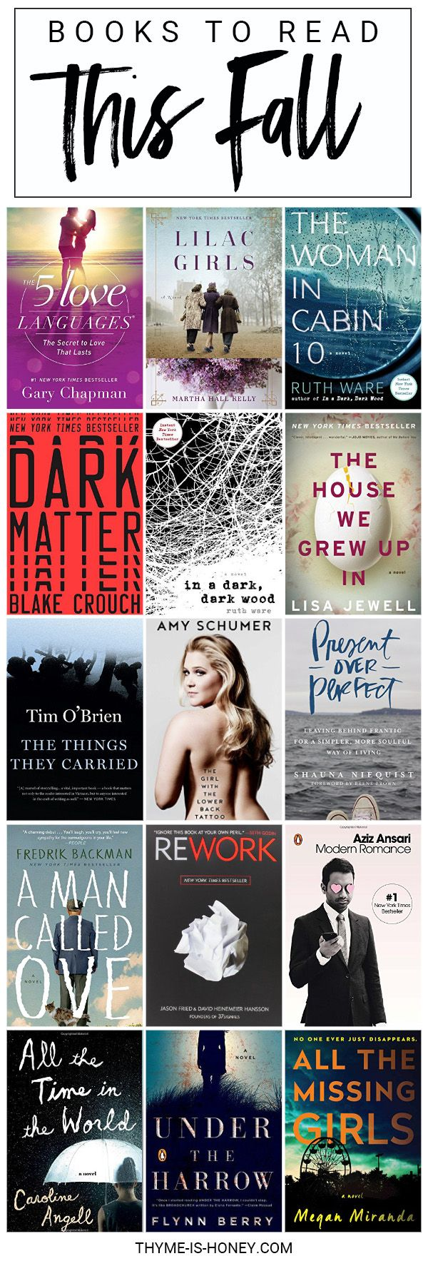 Books to Read Fall 2016 - 15 books to put onto your reading list.