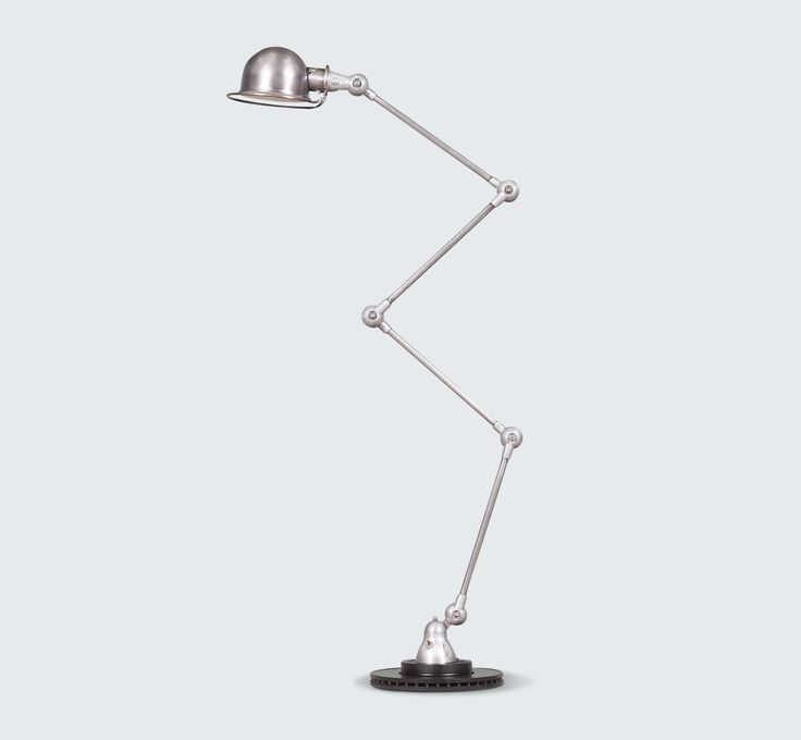 FRENCH INDUSTRIAL ARTICULATED FLOOR LAMP BY JIELDE, 1950S line Exceptional Articulated Industrial floor lamp by French designer Jean-Louis Domecq for JIELDE. This stunning lamp has a beautiful original steel finish with four arms and moving joints for optimal adjustability.