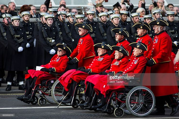 Chelsea Pensioners parade during the annual Remembrance Sunday Service at the Cenotaph on Whitehall on November 13, 2016 in London, England. The Queen, senior politicians, including the British Prime Minister and representatives from the armed forces pay tribute to those who have suffered or died at war. (Photo by Jack Taylor/Getty Images)