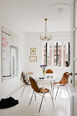 brightnessDecor, Dining Area, Dining Room, Small Spaces Design, Diningroom, Painting Floors, Dining Nooks, White Interiors, Leather Chairs