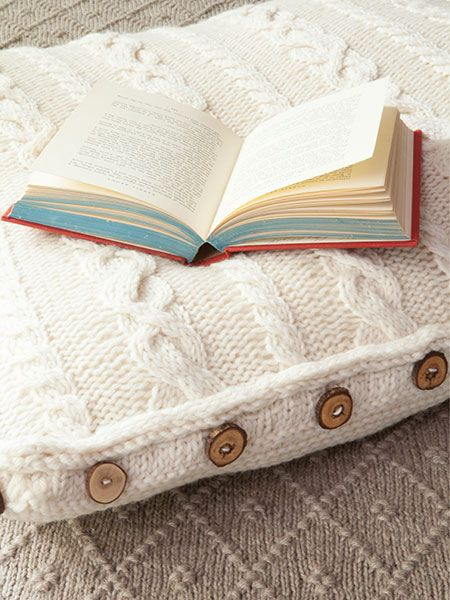 Comfy cabled floor pillow knitting patterns and crochet for Floor knitting
