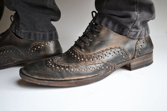 Handmade Curried leather  LaceUp Mens Brogues   by MDesignWorkshop, €250.00