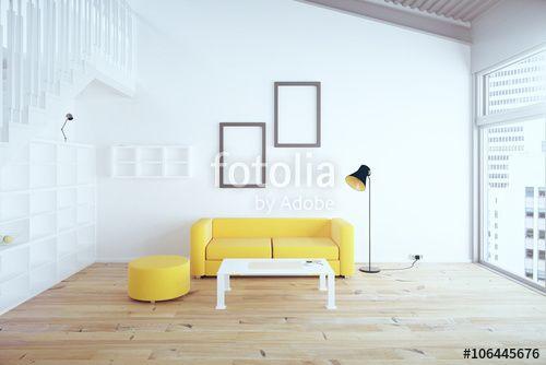"""Pobierz zdjęcie royalty free  """"Living room yellow sofa"""" autorstwa peshkova w…"""