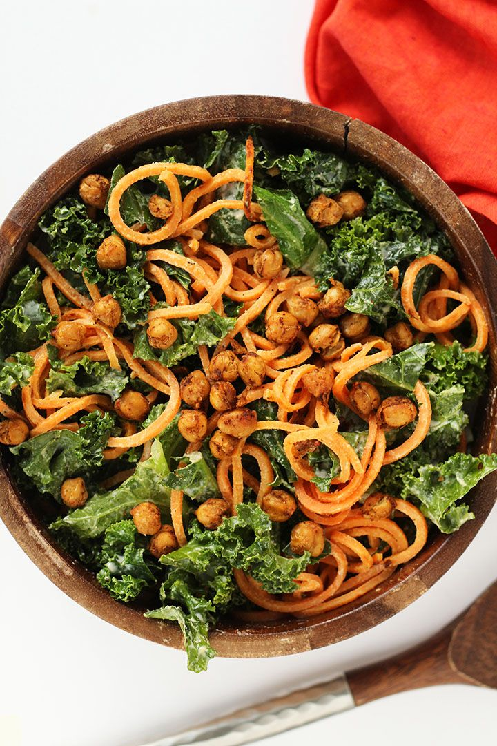 Vegan Kale and Sweet Potato Noodle Caesar Salad with Crispy Spiced Chickpeas