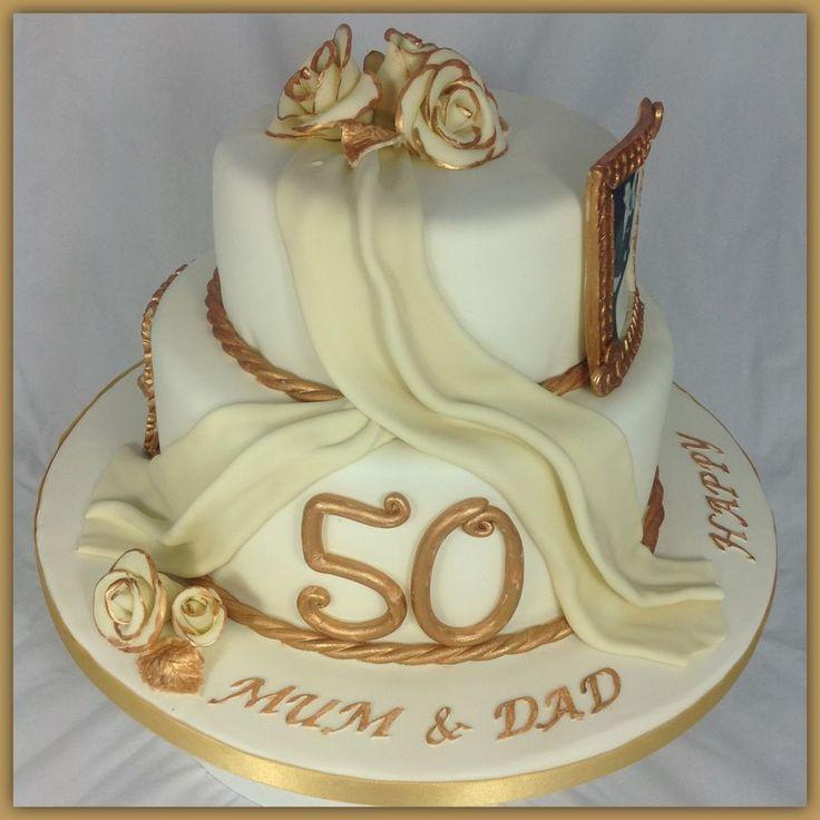 Golden wedding cake.