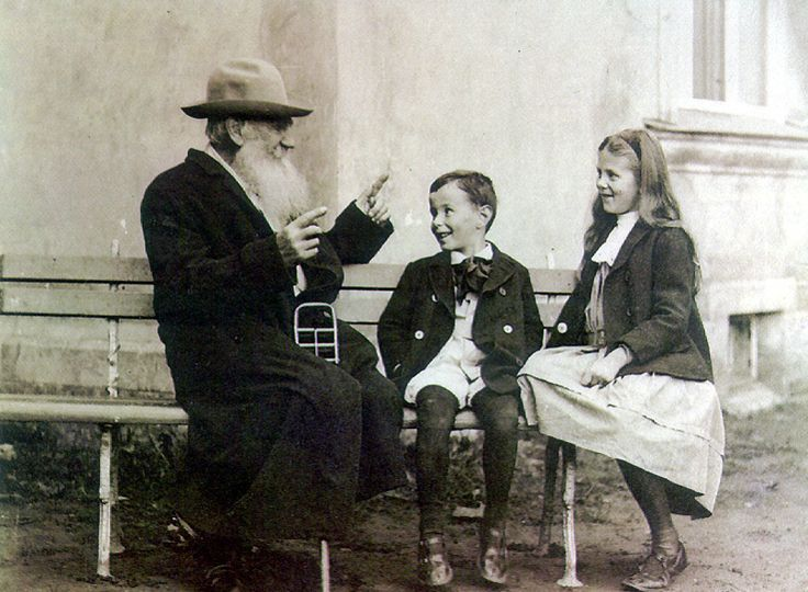 "Leo Tolstoy telling a story to his grandchildren. 1909... ""OK, kids, this story takes place June 1805 in Saint Petersburg, at a soirée given by Anna Pavlovna Scherer and it's going to involve a man named Napoleon...Wait, you got a few minutes?"""