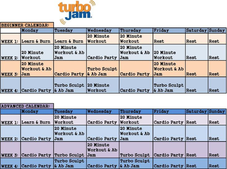 Turbo Jam Maximum Results Workout Schedule images
