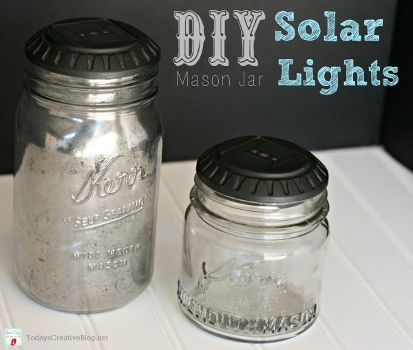 How adorable are these? They would be perfect in the garden come spring! DIY Mason Jar Solar LIghts | TodaysCreativeBlog.net #diy #solarlights #solar #masonjars #jars