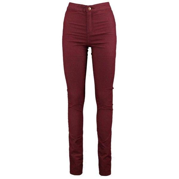 Tall Lara 38 Leg High Waist Jeans ($33) ❤ liked on Polyvore featuring jeans, high waisted jeans, high rise jeans, red jeans, high-waisted jeans and highwaist jeans