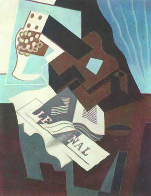 Still Life with guitar, book and newspaper  by Juan Gris. Order from DEKORAMI as a poster, canvas print, mural. Zamów jako obraz na płótnie, plakat lub fototapetę na DEKORAMI.pl.