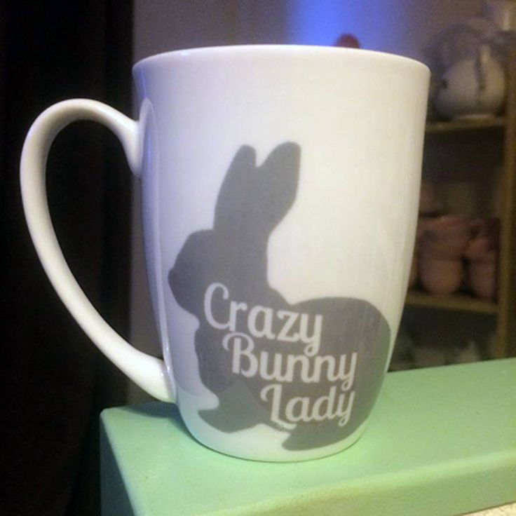 Crazy Bunny Lady bone china mug! You can even personalise mugs with the name of your favorite bunny on the handle.