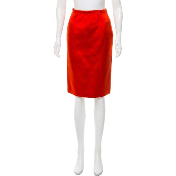 Pre-owned Burberry Prorsum Satin Pencil Skirt ($295) ❤ liked on Polyvore featuring skirts, red, zip pencil skirt, red satin skirt, red skirt, red knee length skirt and satin pencil skirts