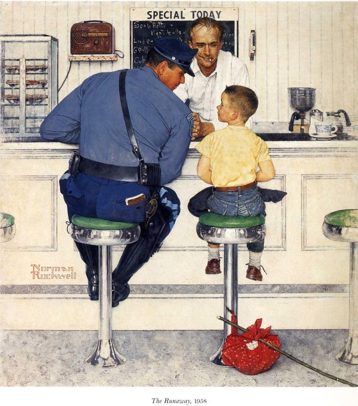 "Norman Rockwell ""The Runaway"" (1958) I used to have this poster in my kicthen. I love Norman Rockwell"