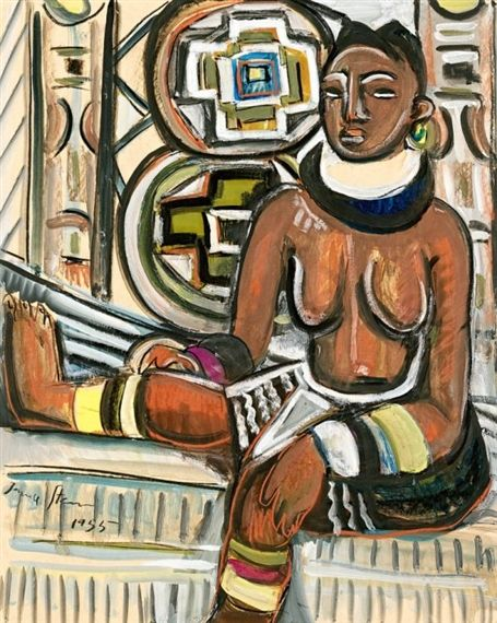 Irma Stern - Ndebele Woman; Creation Date: 1955; Medium: mixed media on card; Dimensions: 24.41 X 19.49 in (62 X 49.5 cm)