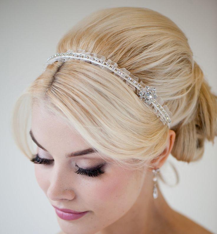 Bridal Headband, Bridal Ribbon Headband, Wedding Hair Accessory, Rhinestone Ribbon Headband - MINKA. $69.00, via Etsy.