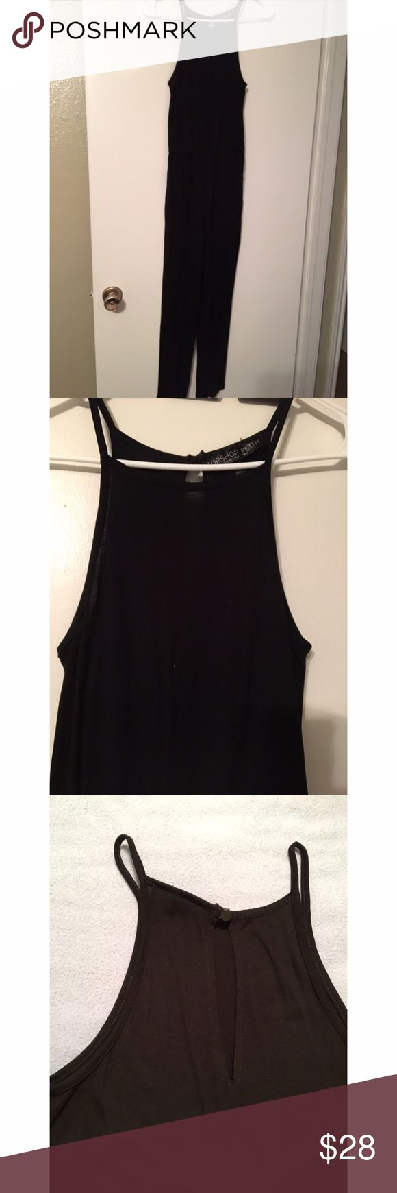 Topshop Petite Black high neck Jumpsuit US 2 Worn twice. In excellent condition. Elastic waist. Keyhole with button at back. Topshop PETITE Other