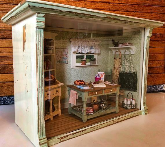 Dollhouse Miniature Kitchen Shadow Box Etsy ミニチュアハウス