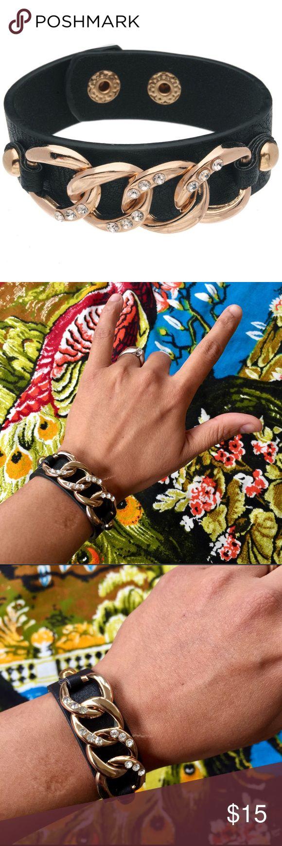 Black gold chain bracelet Snap connection, faux leather bracelet. Super cute! Jewelry Bracelets