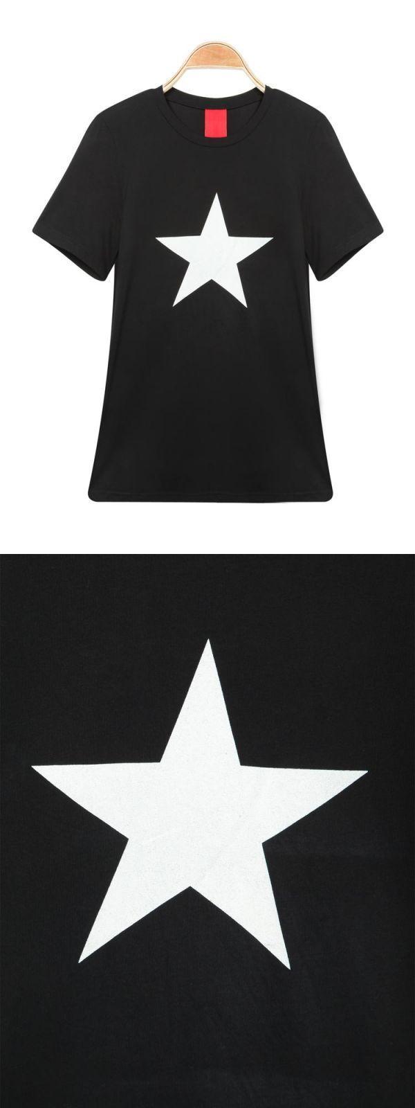 T shirt model woman solid color o-neck short sleeve star print t-shirt #gap #womens #t #shirts #uk #high #quality #womens #t #shirts #t #shirt #blank #girl #t #shirt #spider #woman