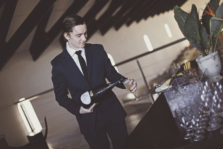 Bram (of Bramon) pouring Blanc de Blanc tastings in the cellar tasting room