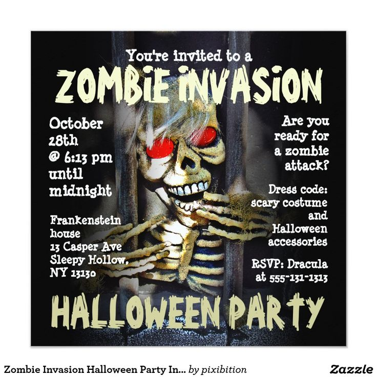 53 best stuff to buy images on pinterest invitation cards shops zombie invasion halloween party invitation 525 square invitation card stopboris Choice Image