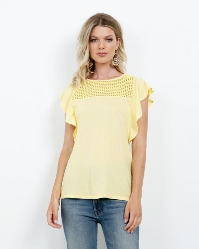 Jersey Colette Flutter Top at Three Dots Online Store in BUTTERCREAM, WHITE