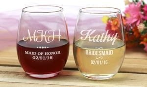 Groupon - Bridesmaids Stemless Wine Glasses from Monogram Online (1-, 2-, 3-, or 4-Pack). Groupon deal price: $9.99