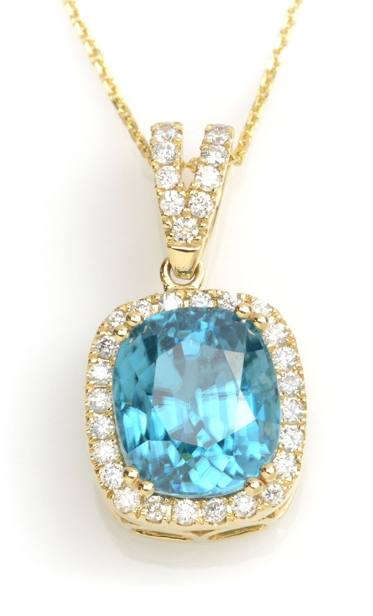 Angara Rabbit Ear Natural Swiss Blue Topaz Necklace in White Gold lf68VH1