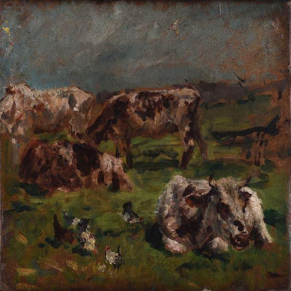 #Mark #Fisher #Cows and #chickens, circa 1880 #Victorian #painting #animalsinart #Britishart #llfa