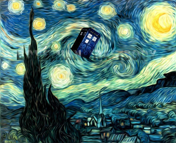 Doctor Who Van Gogh Starry Night TARDIS art by BohemianCraftsody: Happy Birthday, Tardis Art, The Tardis, Starry Night, Doctorwho, Vincent Vans Gogh, Art Prints, Doctors Who, Dr. Who