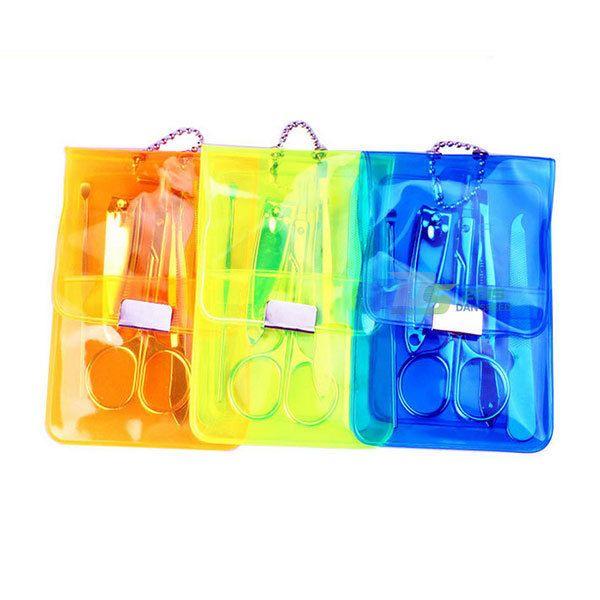 Travel Nail Care 5 Pcs Kit Manicure GroomingClipper Fuorescent 3 Colors Set Bag  #New