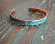 Teal Bracelet // Recycled copper tubing // Boho Teal Jewelry // Bracelet Cuff // Handmade By Korey Burns