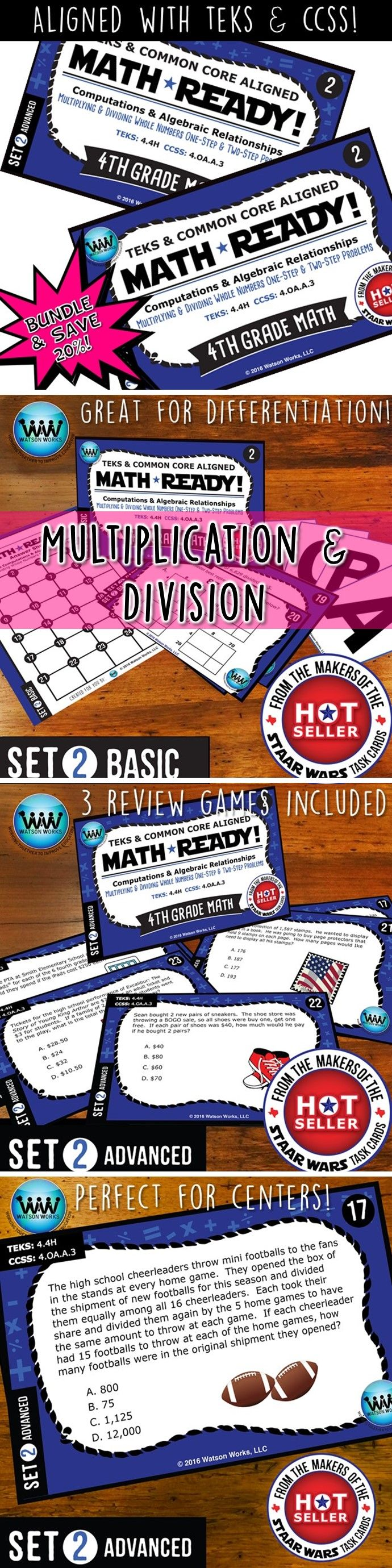 SAVE 20% WHEN YOU PURCHASE THIS BUNDLE (includes both our Basic & Advanced MATH READY Multiplying & Dividing Whole Numbers Task Cards sets)! Both sets include 24 task cards w/ multiple choice answers. The BASIC set helps your students practice & apply their understanding of multiplication/division at a simpler, basic level with shorter questions, while the ADVANCED set features rigorous, higher-level thinking questions w/ longer word problems, making them great for differentiation. $4.78