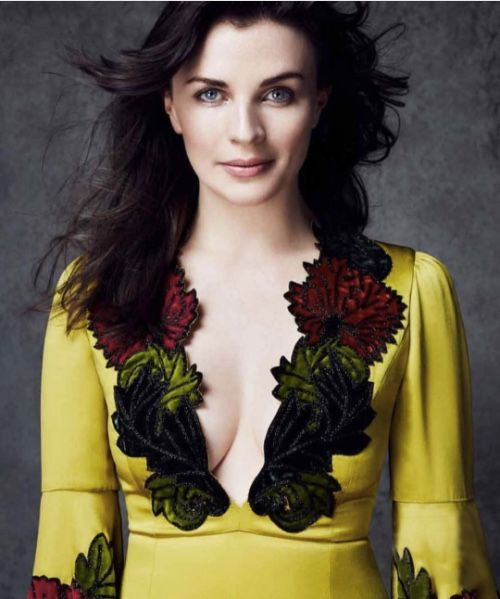 Aisling Bea in Harrods Magazine wearing an Andrew Gn Fall Winter 17/18 gown in vintage velvet appliqué reimbroidered with jet beads