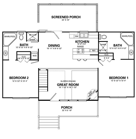 Two level floor plans 1 bedroom 1 bath stonebridge for 2 bedroom cabin floor plans