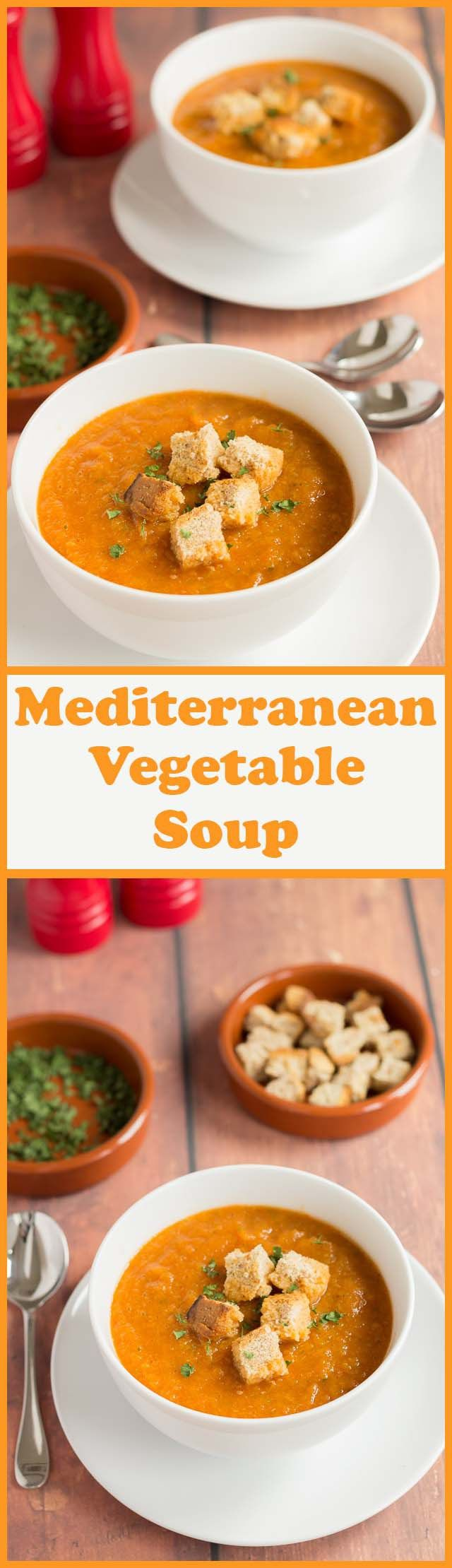 This Mediterranean vegetable soup is just 100 calories per serving and at the same time it's full of flavour and extremely filling. If you're feeling that you've over indulged a little recently, then this soup is a great aid to weight loss and will help you get right back in shape again!