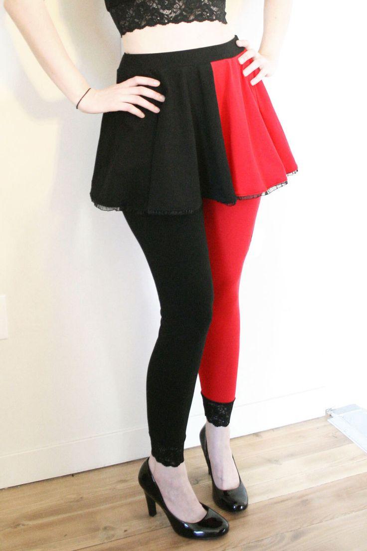 Cotton Harley Quinn Circle Skirt Red and Black cosplay plus size mini flared elastic waistband ruffled hem XS S M L XL 2XL 3XL by DerangedDesigns916 on Etsy https://www.etsy.com/listing/230790914/cotton-harley-quinn-circle-skirt-red-and