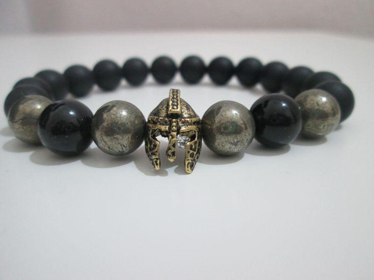 Pulsera Hombre de Onix esmerillado,Onix y Pirita piedras semipreciosas,casco espartano antiguo bronce,Gladiador de Lenajoyas en Etsy