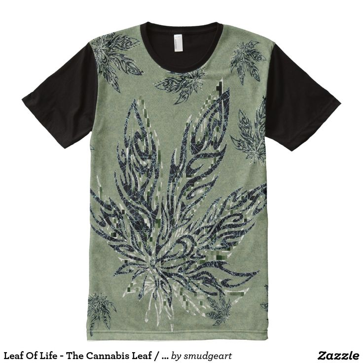 Leaf Of Life - The Cannabis Leaf / Moss Green Art All-Over Print T-shirt