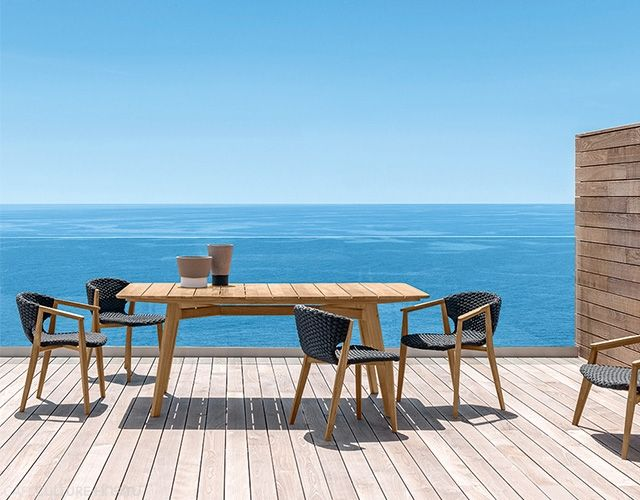 A range of designer outdoor furniture from Ethimo was launched at the Salone del Mobile Milan 2015. Products: Knit outdoor collection: chair, armchair, lounge chair, table