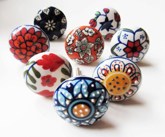 10 x Mix Vintage Look  Floral Ceramic Knobs Door Cabinet Cupboard Knob Pull Handle Shabby Chic on Etsy, 28,56€