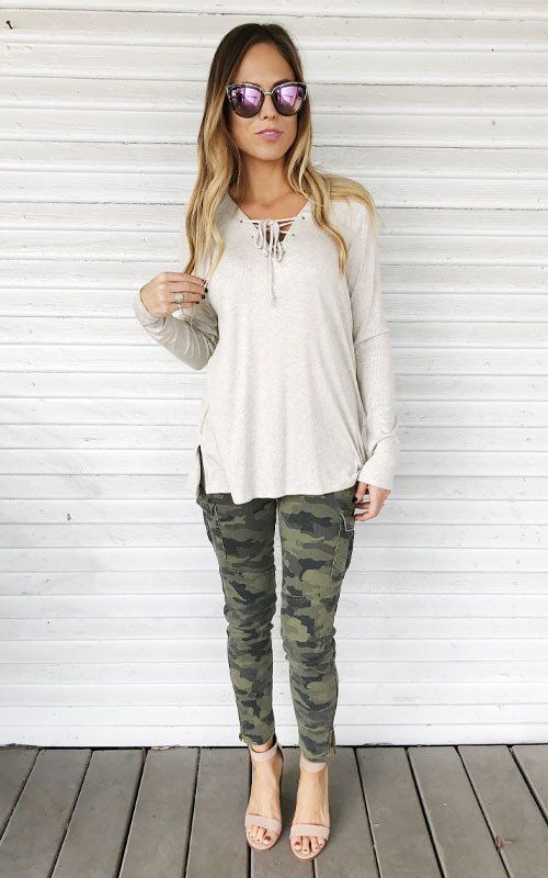 Casual Camo outfit. love this look with the lace up top.