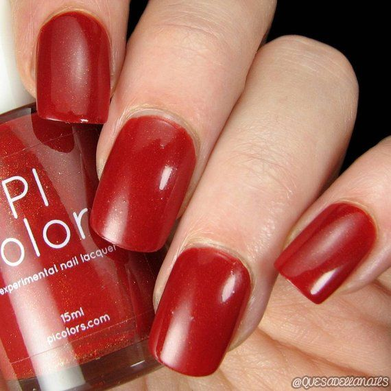 Blood Moon.090 Red Nail Polish with Gold Shimmer