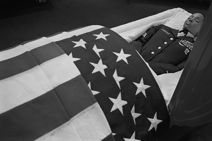 A US american soldier at funeral home