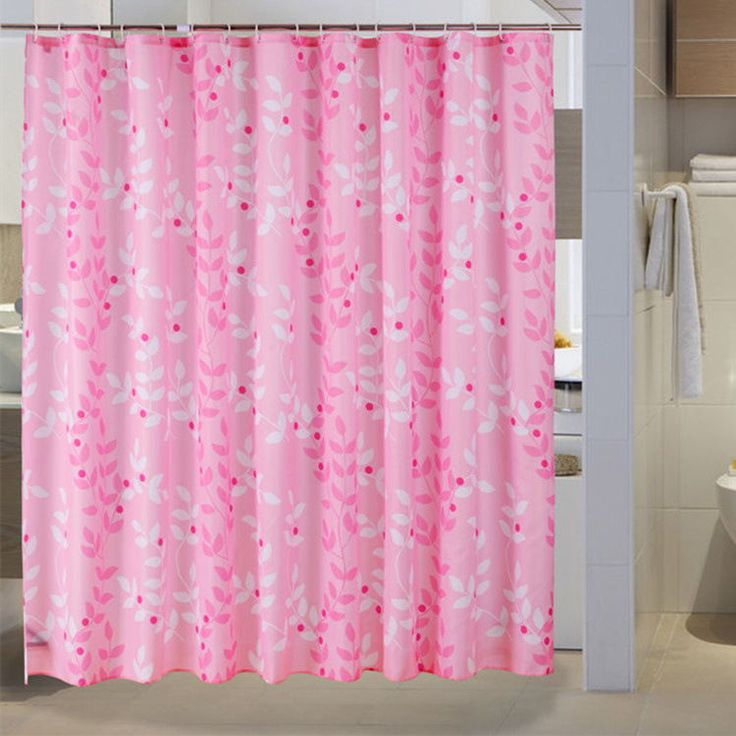 Shower Curtain Polyester Waterproof Pink Leaves Pattern Hooks Home Bathroom #Unbranded #Warmandelegant