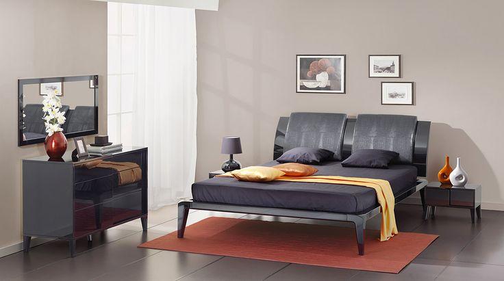Комплект чёрной глянцевой мебели для спальни | Дизайн интерьера современной спальни  #астрон #мебель #astron #спальни